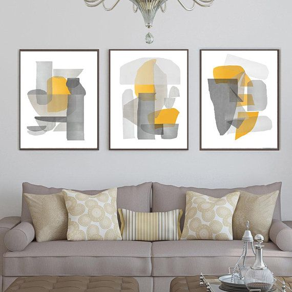 Abstract Set Of 3 Gray Yellow Wall Art Geometric Poster Living Etsy In 2021 Yellow Wall Art Living Room Decor Yellow And Grey Living Room Art