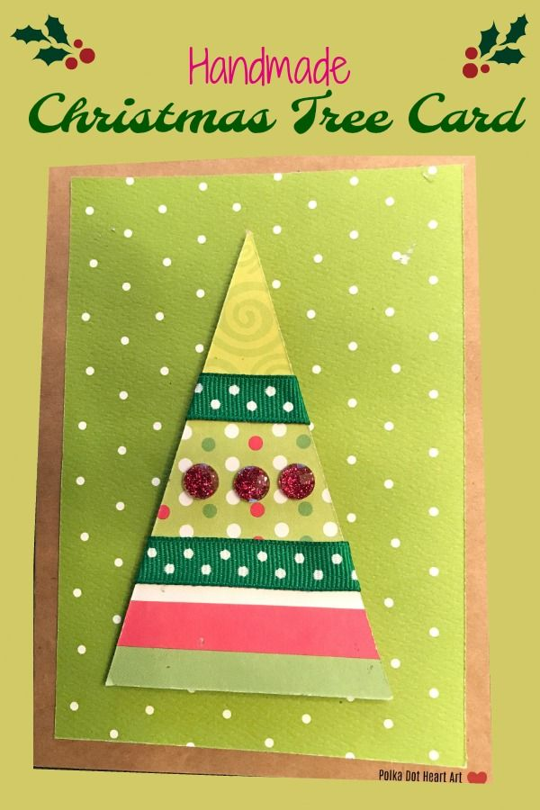 Simple Handmade Christmas Tree Holiday Card With Green Red And White Paper Ribbon And Embelli Handmade Christmas Handmade Christmas Tree Christmas Tree Cards