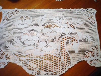Vintage Hand Filett Crochet White Doilie Swan Roses | eBay