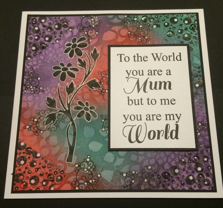 By Tracy Nutton. I Created this card for my Mum using distress ink and the Black Daisy Sweet Poppy Stencil.