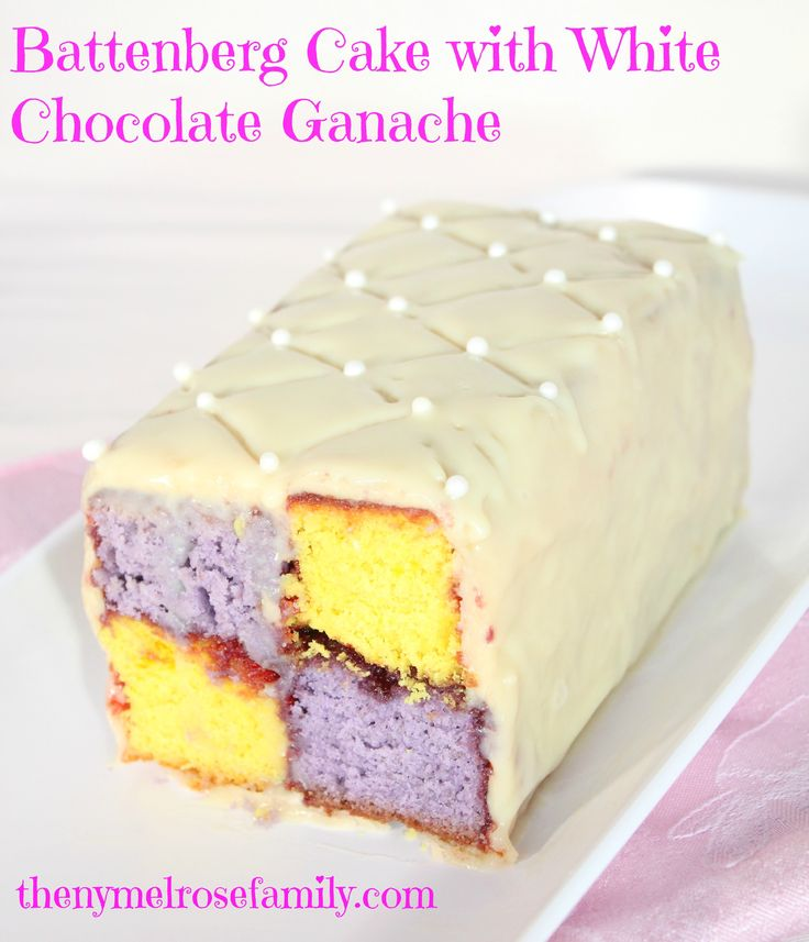 Battenberg Cake with White Chocolate Ganache www.thenymelrosefamily.com #dessert #holiday