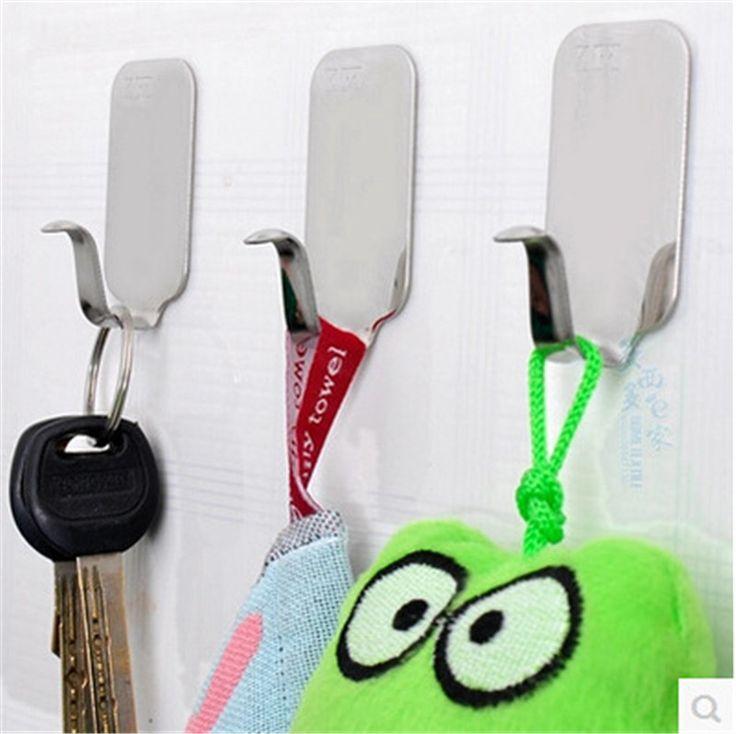 6Pcs Stainless Steel Self Adhesive Stick Wall Hook Hanger Bathroom Kitchen Doors Holder Sticker free shipping