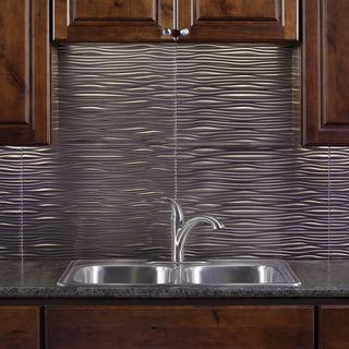 fasade waves brushed nickel 18 in x 24 in backsplash panel tiles