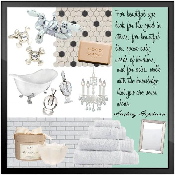 """Breakfast at Tiffany's Bathroom"" by sarahcagnnion on Polyvore"