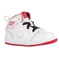 Jordan AJ1 Mid - Boys' Toddler - White / Red