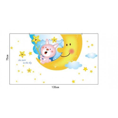 Nyuszi ül a holdon gyerek falmatrica, babaszobába
