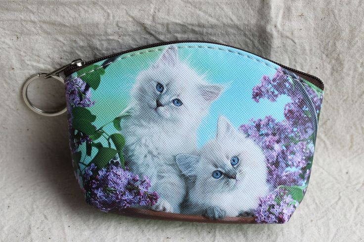 Cat Kittens Coin Purse Wallet with Key Ring Ladies Girls Blue Vintage Style New