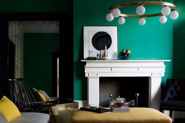 Emerald green living room in Green Paint Colours on HOUSE. Go green! Virescent bedrooms, living spaces, hallways and bathrooms.