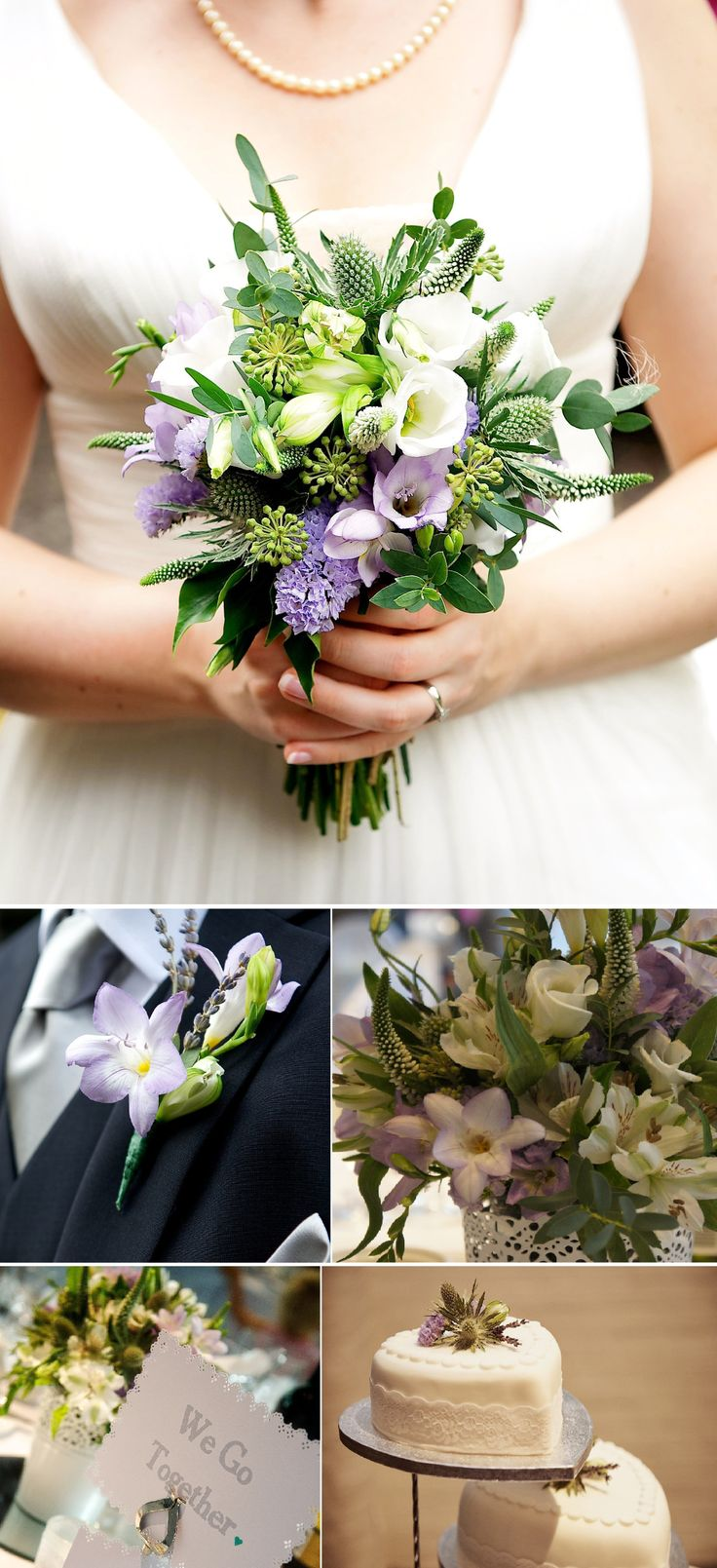 Florissimo, Shropshire - Flowers for weddings, events and businesses | Get the Florissimo Wedding Flowers Guide for more wedding flowers inspiration, as well as information on prices, at http://flowersbyflorissimo.co.uk/weddings/  | Naturalistic and organically-styled gorgeously-scented pale purple freesia, white lisianthus, veronica, alstroemeria, statice, trachelium, eryngium thistle and berried ivy. Photo: Graeme Braidwood