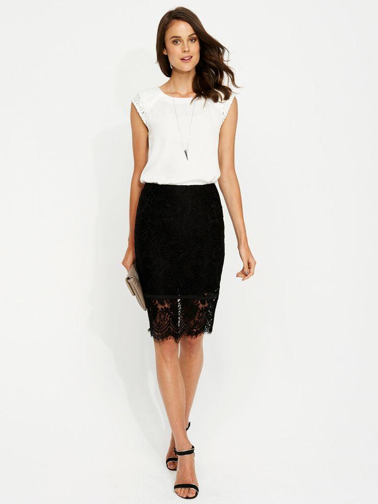 Lace Pencil Skirt | Portmans