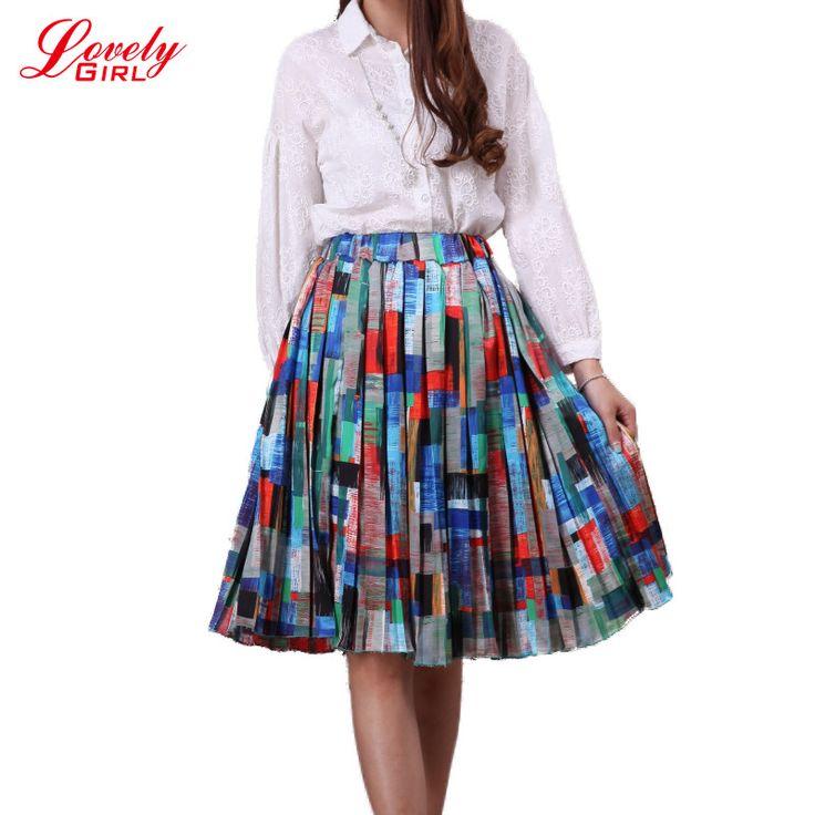 Midi Skirt 2017 Summer New Arrival Women Printed Bodycon Ball Gown Pleated Skirts Floral Saias Faldas American Apparel L281 #Affiliate