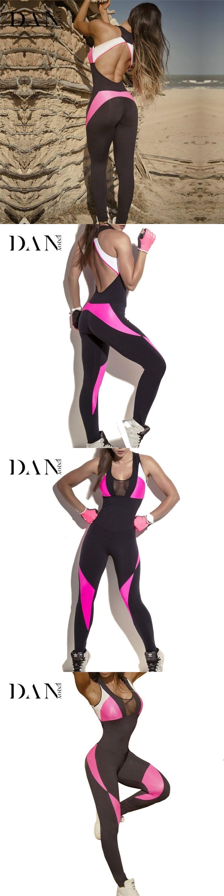 DANENJOY Women Sports Jumpsuit Fitness Yoga Leggings Coverall Sexy Training Jogging Compression Gym Sports Romper Yoga Pants