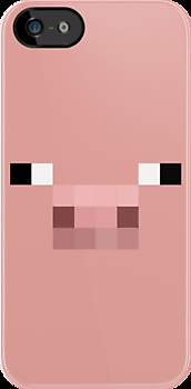 Minecraft Pig iPhone case with a very very very light pink