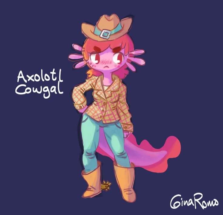 Got like a spark of inspiration for this the other day. It needs work but I like how she's looking!  #axolotl #cowboy #cowgirl #cowgal #girl #gal #monster #hybrid #humanoid #character #digital #design #mexican #salamander #salamandra #mexicana #personaje #vaquera