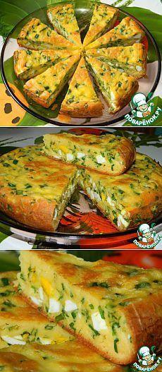 Пирог с яйцами и зеленым луком - кулинарный рецепт