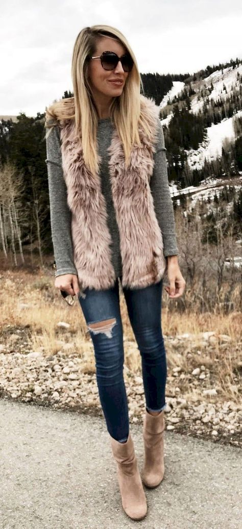 666e9cea5cc3 Grey sweater, camel faux fur vest   booties, skinny jeans   Fall ...