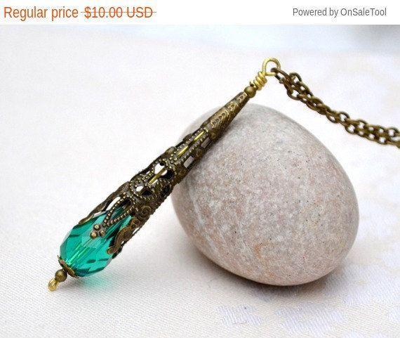 Petrol / Grün Kristall Pendel Halskette grün von artemisartdesign