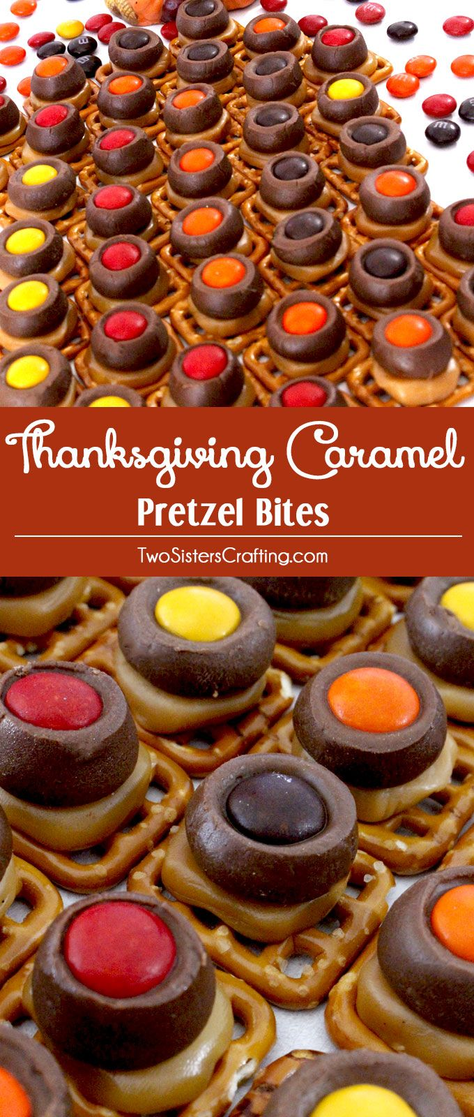 Looking for a yummy Thanksgiving snack? These easy to make Thanksgiving Caramel Pretzel Bites will be everyone's favorite treat at your Thanksgiving table! Sweet, salty and delicious - the perfect Thanksgiving Food combination. Pin this delicious Thanksgiving Treat for later and follow us for more great Thanksgiving Dessert Ideas.
