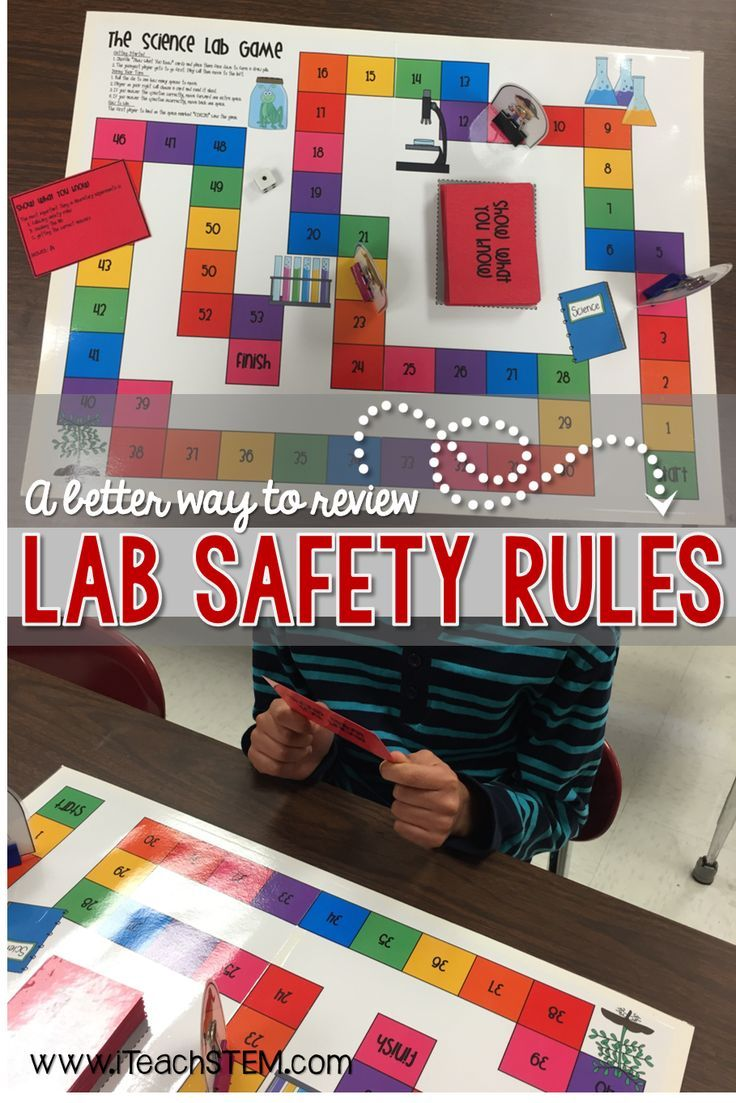 Teach elementary school, middle school, and high school students the importance of science lab safety rules and procedures. Students can play a game to review lab safety topics such as appropriate behavior and attire, correct use of lab equipment, proper handling of chemicals, what to do in case of an accident or injury, and how to clean up after a lab activity.