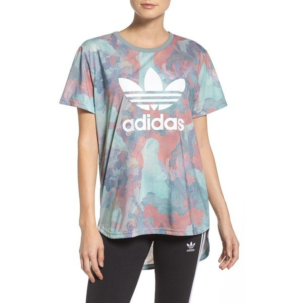 Women's Adidas Originals Boyfriend Tee ($35) ❤ liked on Polyvore featuring tops, t-shirts, pastel camo, boyfriend tee, camouflage tee, camo top, camouflage t shirts and camo print t shirt