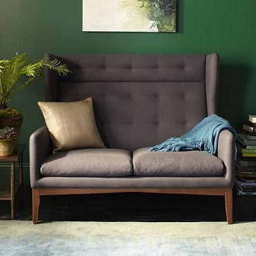 James Harrison Settee from West Elm = love for privacy for small team meetings, or casual banquettes near the bar - group with two club chairs or another settee with a wide, rustic wood or white laminate table in the middle
