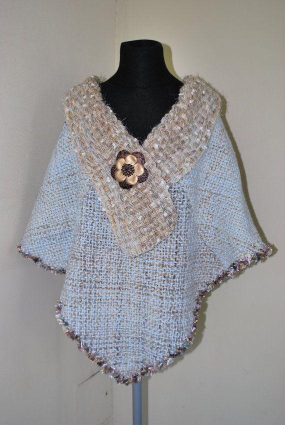 NEW Light blue / beige hand woven latin american by Cozyyarn, $98.00