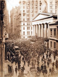The Panic of 1907, also known as the 1907 Bankers' Panic or Knickerbocker Crisis, was a financial crisis that occurred in the United States when the New York Stock Exchange fell almost 50% from its peak the previous year. Primary causes of the run include a retraction of market liquidity by a number of New York City banks and a loss of confidence among depositors, exacerbated by unregulated side bets at bucket shops.
