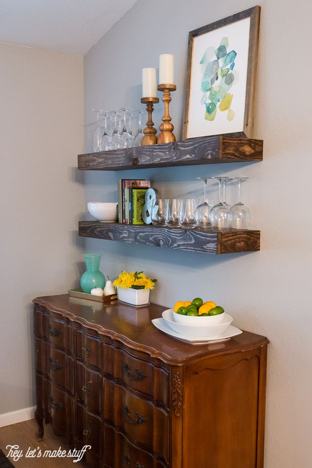 Lacking storage space? Build some chunky floating shelves -- both beautiful and practical!