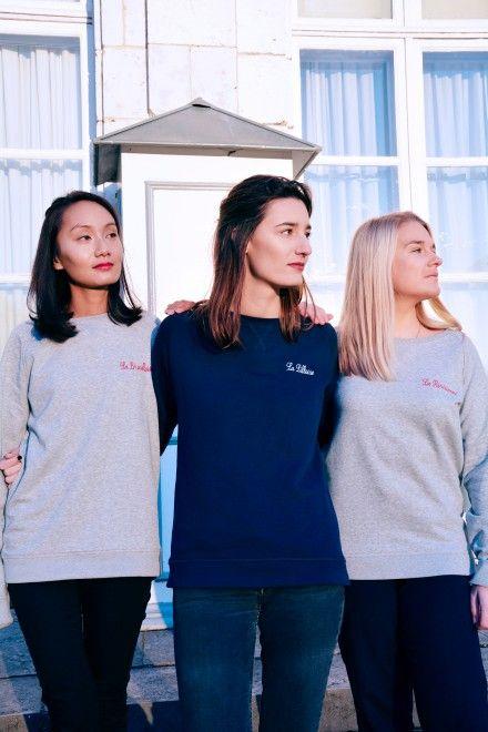 Collection Capsule N°5 Les Comptoirs d'Orta /  www.lescomptoirsdorta.com / Sweat La Bruxelloise & La Parisienne & La Lilloise #lescomptoirsdorta #sweat #pull #grey #gris #Navy #marine #Bruxelles #Brussels  #Bruxelloise #Paris #Parisienne #Lille #Lilloise #France #Belgique #fashion #tendance #friends #love