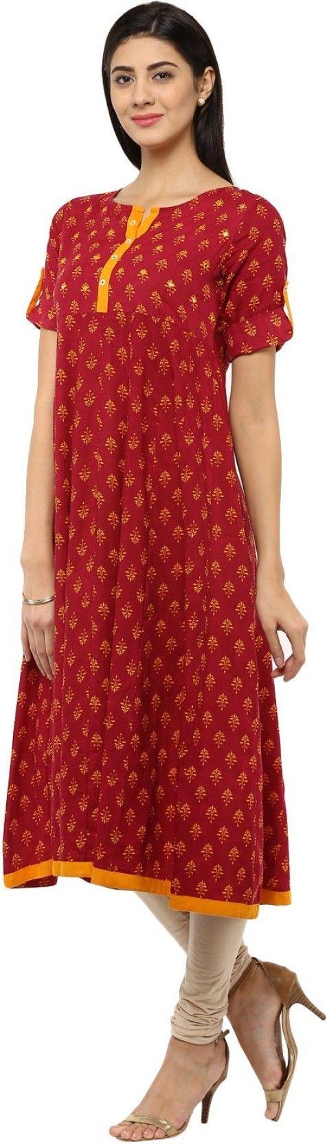 Evam Embroidered Women's Anarkali Kurta - Buy Red Evam Embroidered Women's Anarkali Kurta Online at Best Prices in India | http://Flipkart.com