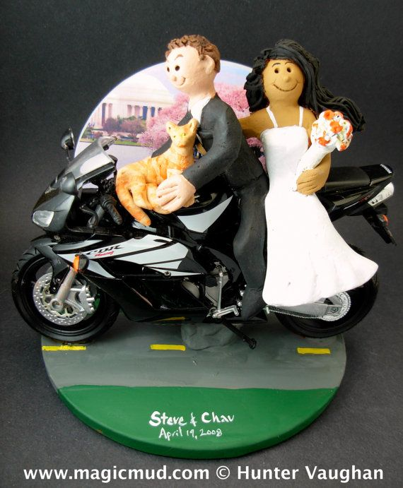 Sportbike Motorcycle for Bride and Groom Wedding Cake Topper,  Motorcycle Wedding Cake Topper, Motorcycle Riders Wedding Cake Topper    Honda, Suzuki, Kawasaki, Ducati, BMW, Harley, Yamaha or Triumph motorcycle Sportbike Wedding Cake Topper custom created for you! Perfect for the marriage of a motorcycle riding Groom and his Bride!     $235 #magicmud 1 800 231 9814 www.magicmud.com