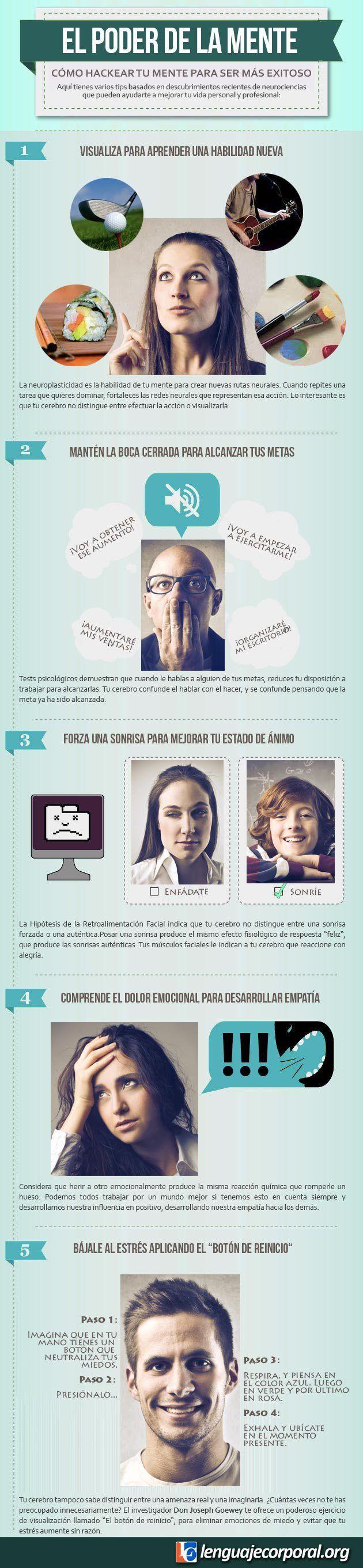 Cómo hackear tu mente para ser más exitoso. #infografía #cerebro