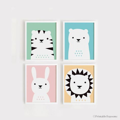 Printable Nursery Art Set of 4 Poster Bear Bunny Lion Tiger - Baby room Wall art Child room decor Digital file INSTANT DOWNLOAD