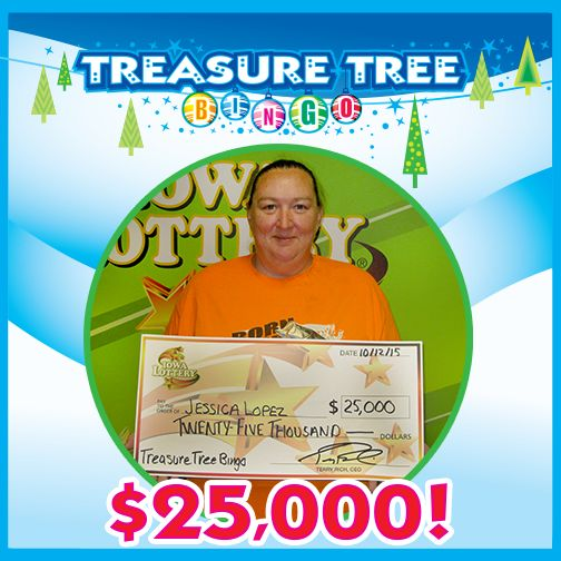Jessica Lopez of Des Moines won the first of eight top prizes of $25,000 on one of our new holiday scratch games - Treasure Tree Bingo! She bought her winning ticket at Hy-Vee, 4815 Maple Drive in Pleasant Hill. Congratulations, Jessica! #WooHoo #HolidayHoopla‪‪