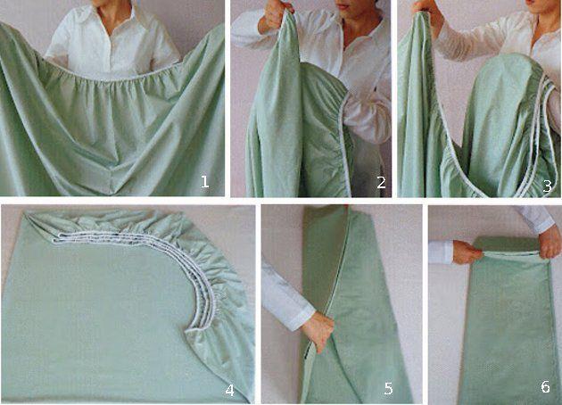 Qual é a melhor maneira de dobrar lençóis? Existem várias dicas, como a que você organiza seus jogos de cama dentro das fronhas, mas sempre fica um problema: como dobrar o lençol com elástico?Para ajudar você, veja 7 passos simples para dobrar o lençol com elástico:Com a folha de dentro para fora, segure dois