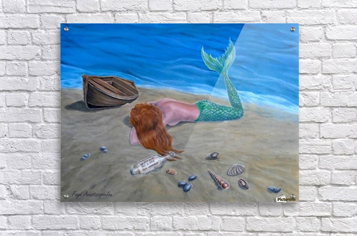 Acrylic Print, for sale, mermaid, coastal, sandly, beach, scene, seascape, ashore, mythical, mythological, magical, aquatic, creature, fish, feminine, nude, message in a bottle,shells, boat, wooden, lying, marine, nautical, water, legendary, fantasy, long, hair, imagination, vivid, blue, aqua, colorful, beautiful, cool, imaginary realism, figurative, painting, fine, oil, art, images, decor, items, ideas, pictorem