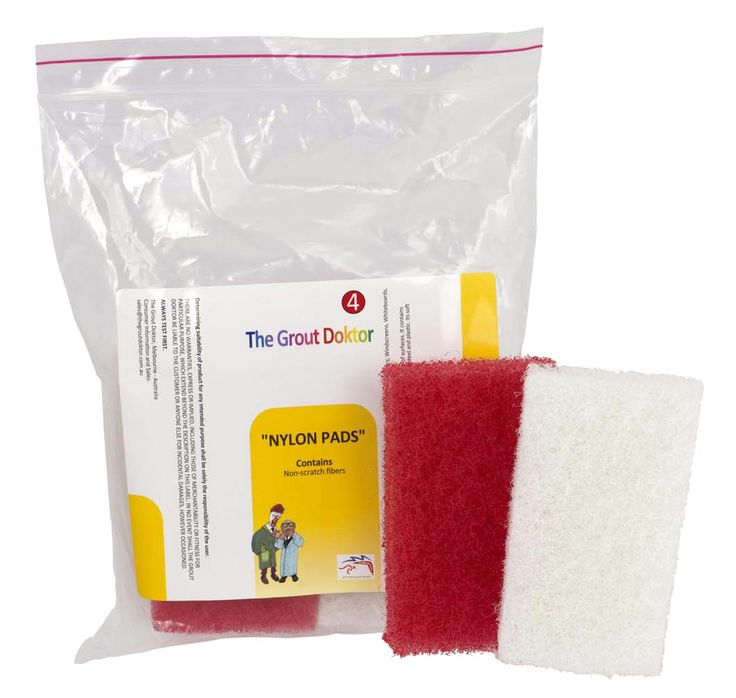 """""""Nylon Scourers"""" - specially designed to remove heavy build-ups of grime from a  variety of surfaces. It contains non-scratch fibers that enable the pad to clean various surfaces including glass, stainless steel and plastic. Its soft fibers will clean surfaces gently, without scratching.  Re-useable over and over again.  Pack of 4 (2x red/medium & 2x white/soft) Only $8.55/pack"""