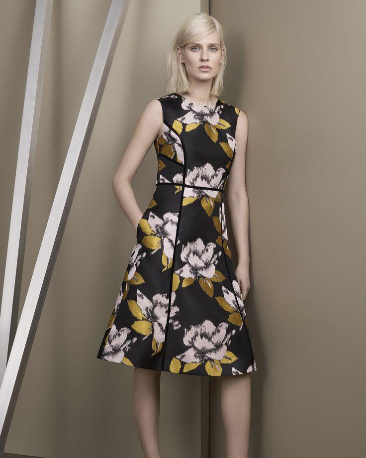 DAVID LAWRENCE   Limona Floral Jacquard A-Line Dress