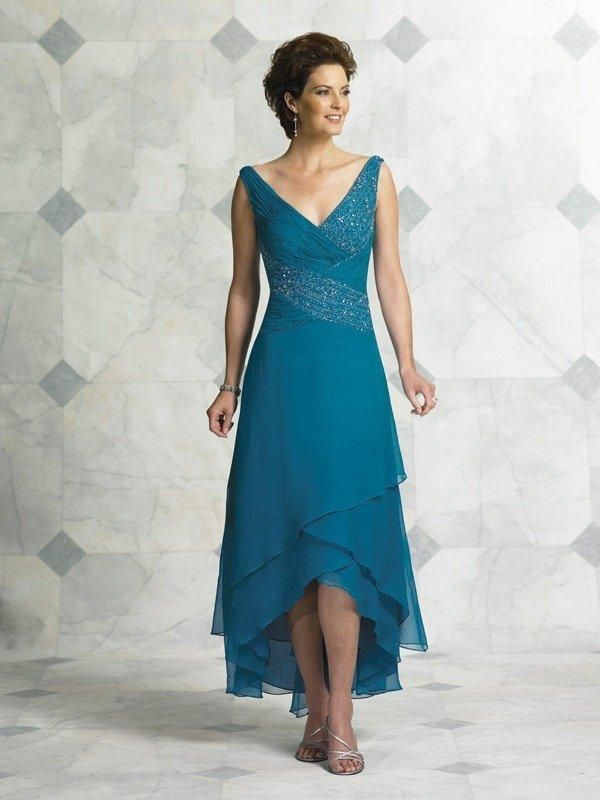 Teal Blue Tea Length Mother Of The Bride Dresses For Weddings V Neck Sequin Beaded