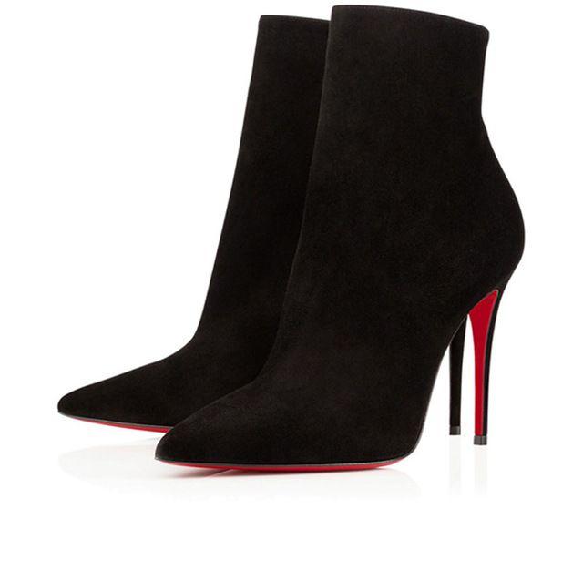 Новый список 2016 Суперзвезда марка женская обувь Мода Красные нижние Лодыжки пиломатериалы сапоги Сексуальная Острым Носом твердые кожа Шпильках