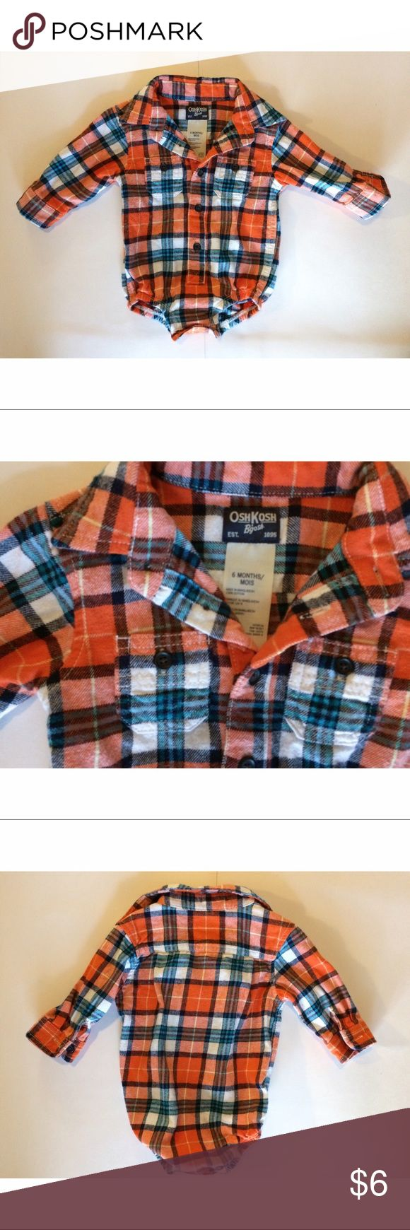 Flannel OshKosh B'Gosh Long Sleeve onesie Flannel OshKosh B'Gosh Long Sleeve onesie. 6 months . True to size IMO. Excellent condition. Washed & worn 2x. Florida weather mostly isn't conducive for flannel ☀️ Osh Kosh One Pieces