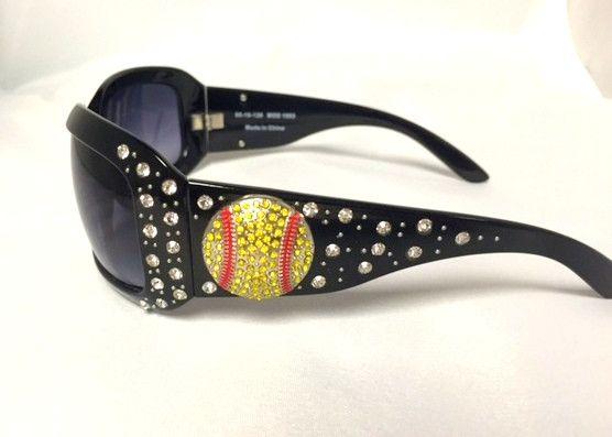 Cocomo Soul Black Rhinestone SOFTBALL Sunglasses Cleaning Cloth & Case