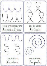 Des cartes, des modèles et des supports à plastifier pour travailler les principaux motifs étudiés en graphisme à l'école maternelle.