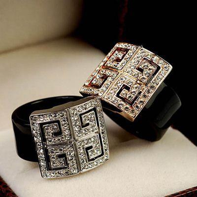 Ра Высокое качество классический черный акриловые горный хрусталь модный палец кольца женщины букет ювелирные изделия бесплатная доставка