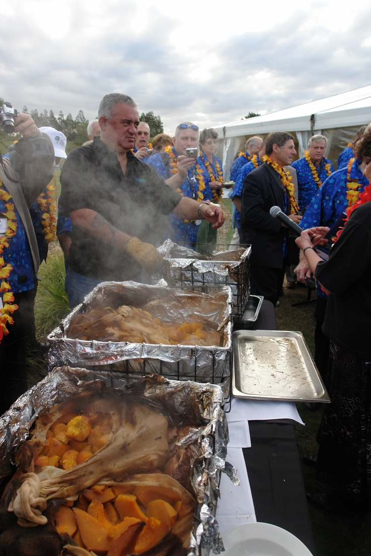 Hangi prepared for the World Association of Chefs Conference - Auckland 2006