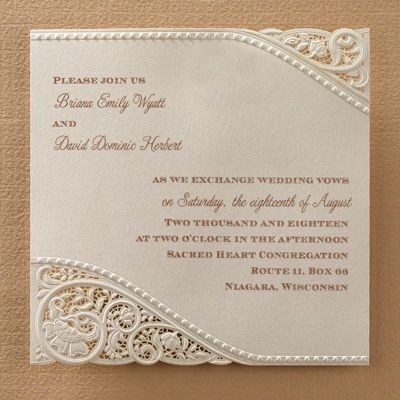 "Vintage Pearls and Lace - Wedding Invitation   Vintage elegance is definitely present on this invitation with pearls and laser-cut lace accenting your wording  Product Details •Dimensions: 6"" x 6"" Card •Type of Printing: Thermography •Price Includes: Printed invitation and blank single outer envelope • Production Time: 3 Working Days •Extra Postage Required"