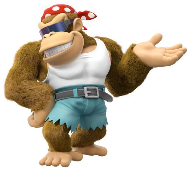 Funky Kong, as he appears in Donkey Kong Country: Tropical Freeze, striking a very camp pose xD