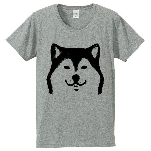 柴犬 Tシャツ (グレー)   ハンドメイドマーケット minne