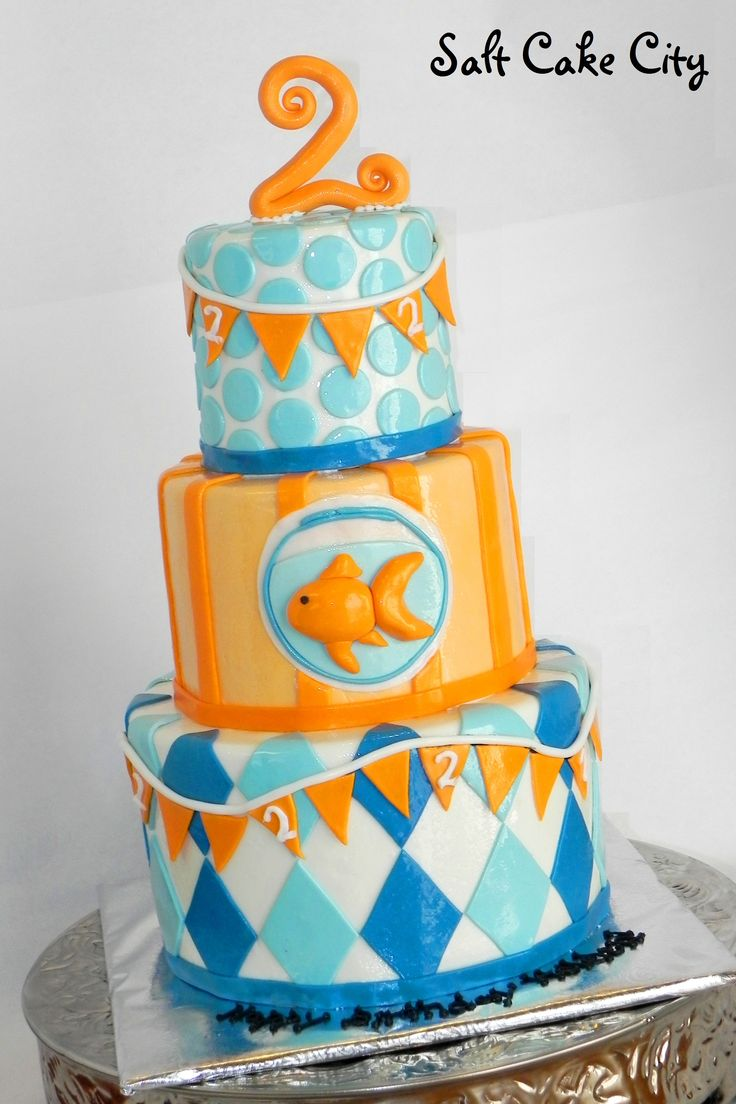 Goldfish Birthday Cake - All marshmallow fondant. The design inspiration came from the client's birthday invitation. Loved making such a colorful cake!