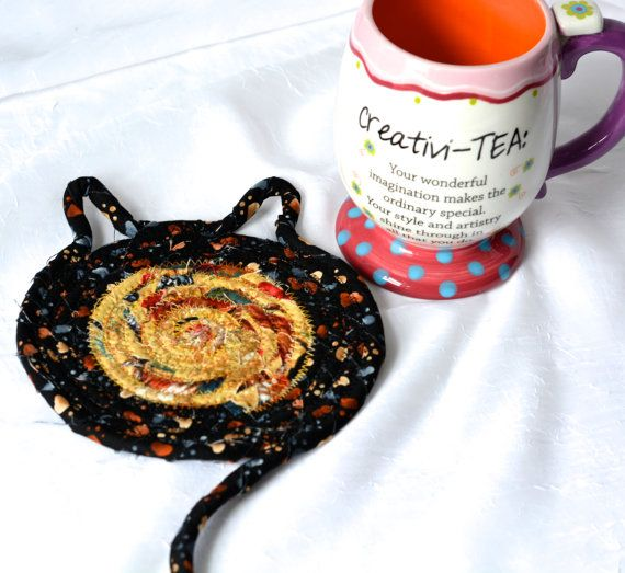 Desk Accessory, Handmade Earth Tone Mug Rug, Cute Cat Coaster, Brown and Black Mug Rug, Southwestern Coaster